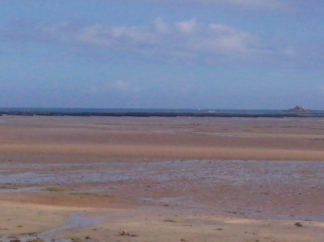 la marée basse avec les parcs à moules
